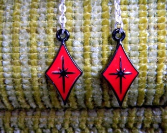 Astro Atomic Diamond Red Earrings