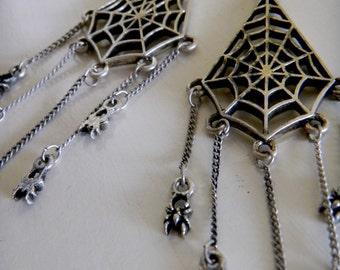 Spiders Crawling up the Web Earrings