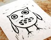 black owl relief print