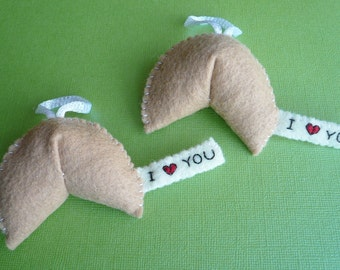Handmade Ornaments - I love you Fortune Cookie (x2)
