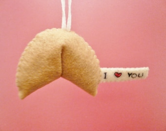Felt ornament - Fortune Cookie Ornament - I love you