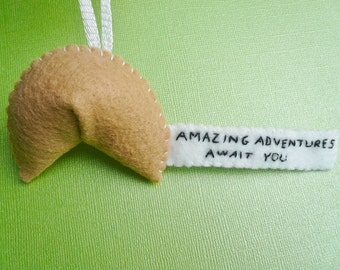 Inspirational Fortune Cookie decoration Ornament - Amazing Adventures Await You