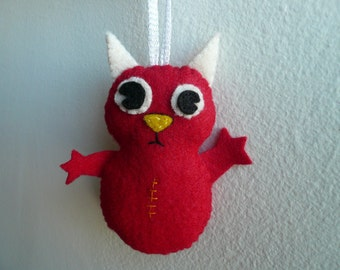 Felt ornaments handmade - Red Horned Monster