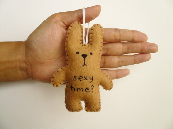 Valentines Day or Christmas ornament 2014 funny bunny - Sexy time -felt  tree decoration gifts under 20