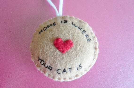 Christmas ornament tree decoration - Home is where your cat is - I love my cat