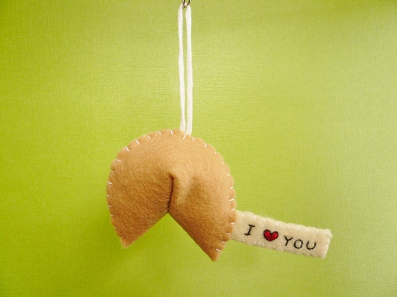 Customized Fortune Cookie Ornament, I heart you