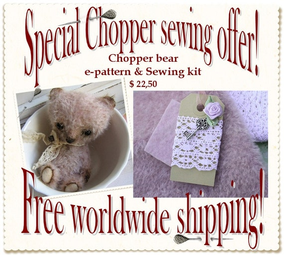 Chopper E-Pattern and sewing kit. pattern in PDF file via e-mail, free shipping sewing kit.