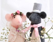 Florence and Albert. Bride and Groom felt mouse ornaments.