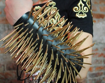 Handcrafted Leather Gauntlet with Custom Painted Gold Spikes - OSFM