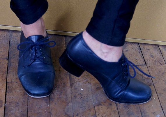 Navy Leather NINE WEST Sz 7 (US) Womens Lace Up Oxford Heels