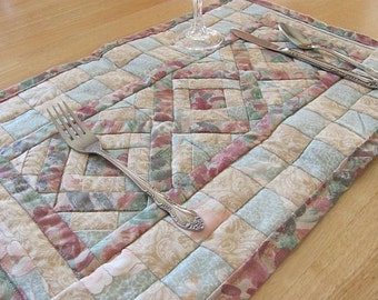 Pastel, Geometric, Quilted Placemat set of four