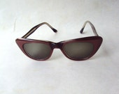 1960s Aubergine pearlized lucite sunglasses in cat eye style - SALE