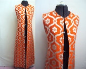 1960s Orange & silver full length evening jacket by Susan Small - M L