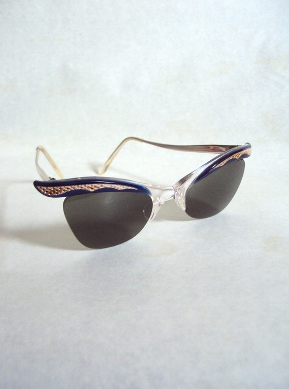 1950s Blue & gold engraved cat eye sunglasses, with case