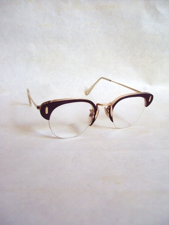 ALGHA Gold filled 1960s spectacles, with blood red frames & engraved bridge