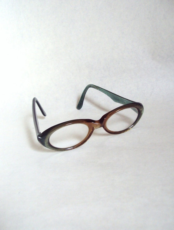 1960s Green pearlized spectacle frames