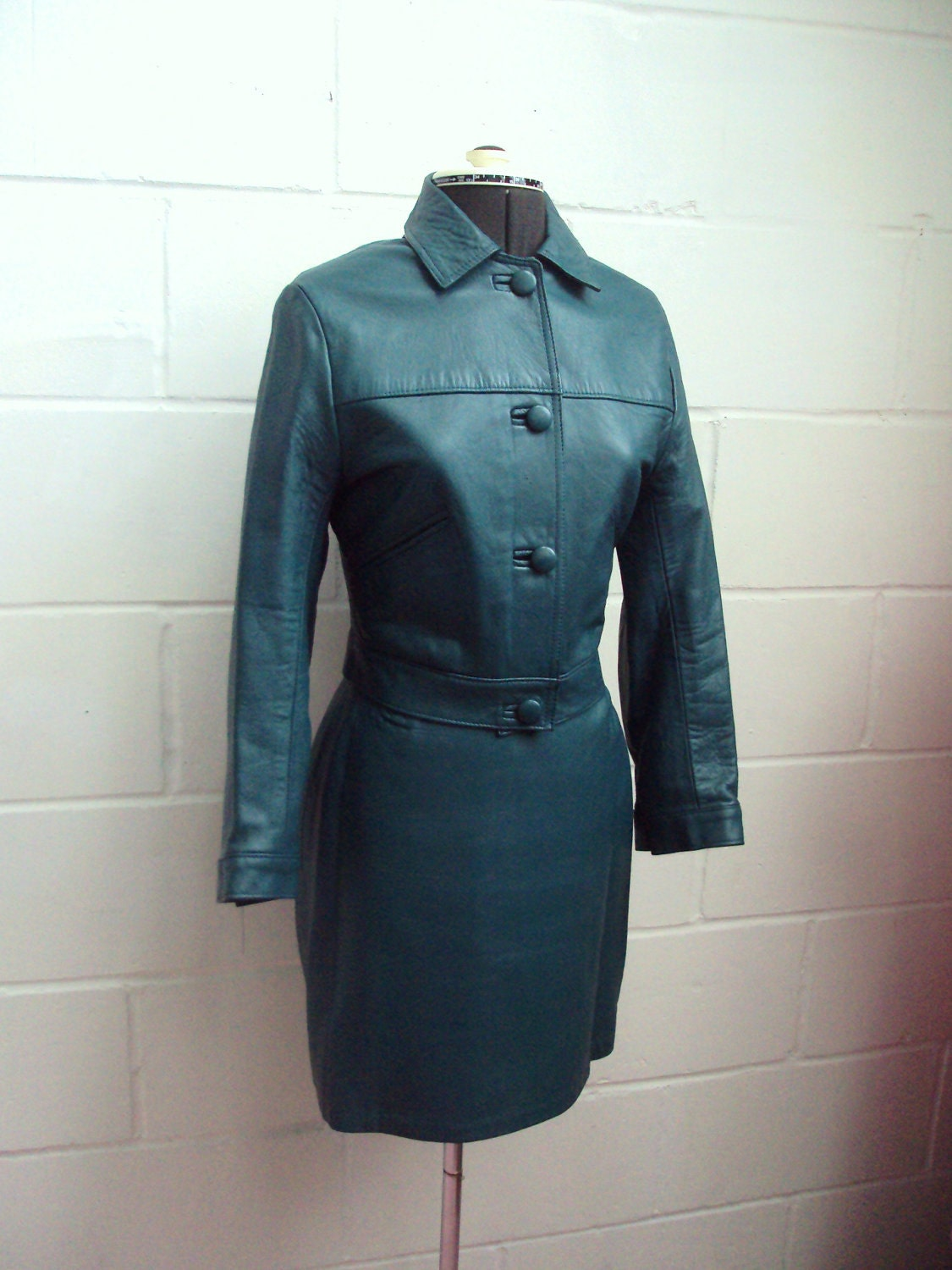 Teal Green 1960s Leather Mod Skirt Suit S