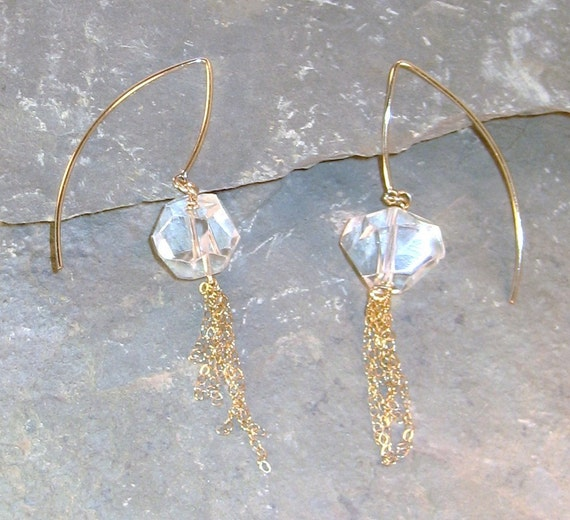 Rock Crystal Quartz and Gold Chain Long Dangle Earrings