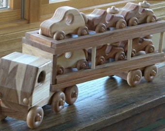 Loads Of Fun Wooden Toy Car Hauler - Various Hardwoods