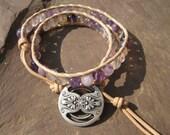 Purple Fluorite Beaded Leather Wrap Bracelet
