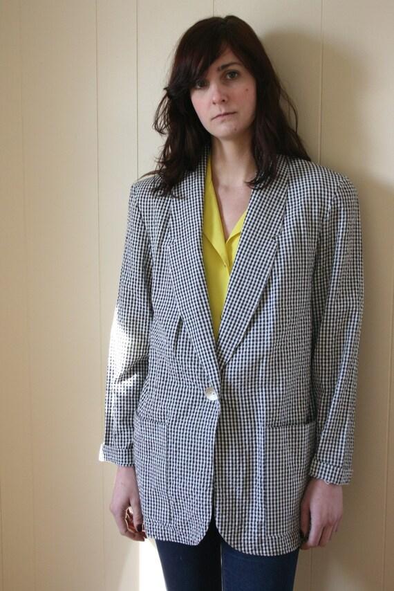 1980s Vintage Black & White Checkered Blazer