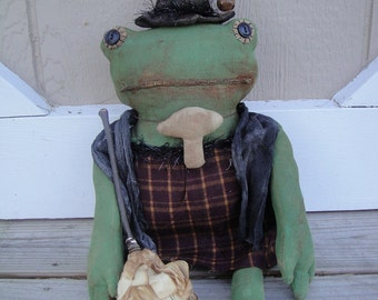 Toad witch doll extreme Primitive Halloween handmade