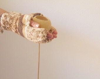 Fingerless gloves winter mittens milk&coffee