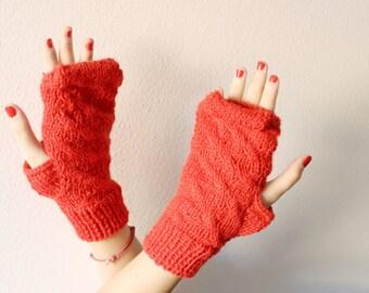 Fingerless gloves red, wool fingerless red mittens handknit, Valentine day gifts, girlfriend gift
