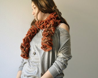 Brown Scarf winter accessory hand knitted in ruffle yarn for women