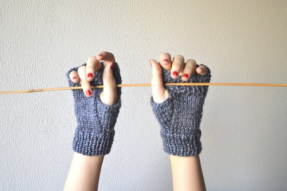 Grey Fingerless gloves, mittens handknitted with wool
