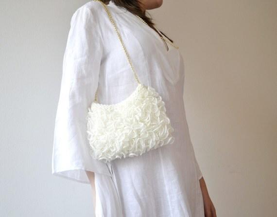 White bag for bridesmaids, wedding purse in ivory, handknit in RosaLu' Italia