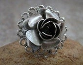 Antique Silver Rose Ring
