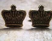 Oxidized Brass Royal Crown Cuff Links