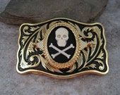 Antique Gold Steampunk  Skull And Crossbones Cameo Belt Buckle