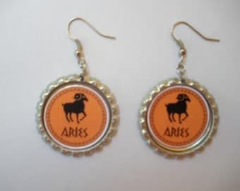 BOTTLE CAP EARRINGS - Zodiac - Choose  Aries, Taurus, Gemini, Cancer