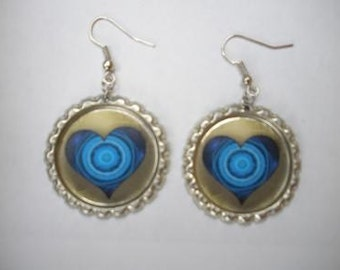 BOTTLE CAP EARRINGS - Blue Heart
