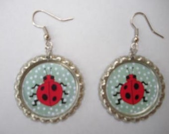 LADYBUG - Bottle Cap Earrings
