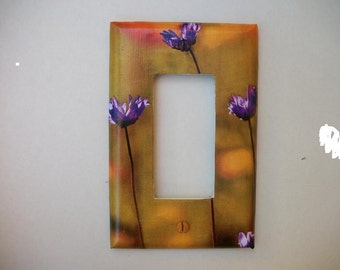 SWITCH PLATE COVER - Purple Flowers in the Sun