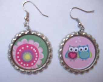 BOTTLE CAP EARRINGS - Owls/Flower
