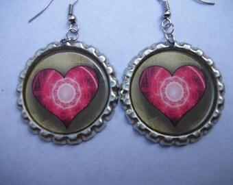 BOTTLE CAP EARRINGS -  Heart