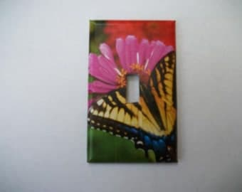 SWITCH PLATE COVER - Flowers/Butterfly