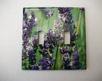 DOUBLE SWITCHPLATE COVER - Purple Flowers