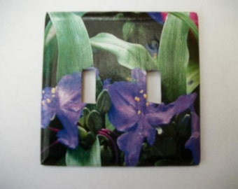 DOUBLE SWITCHPLATE COVER - Leaves/Purple Flowers