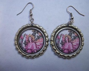 BOTTLE CAP EARRINGS - Fairy
