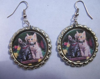 BOTTLE CAP EARRINGS - Kittens