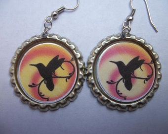 BOTTLE CAP EARRINGS - Hummingbird