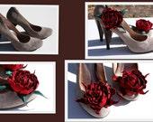 "Dark Red Suede Shoe Clips 3"""