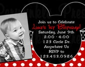 Mickey Mouse Brthday Invitation Printable Custom Photo Party Invitations Invites DIY Digital Printable