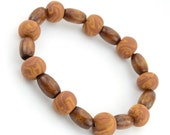 Organic Skater Bracelet - Caramel Swirl Clay Beads