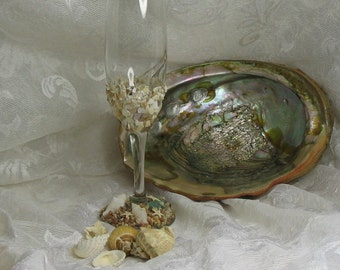 Beach Decor Wine Glass Shell seaglass starfish FREE SHIPPING